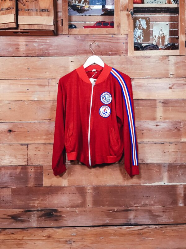 85 1980s Soccer Jacket Embrodery Letter patch Handsewing RECTO scaled